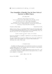 Trace Inequalities of Lipschitz Type for Power Series of
