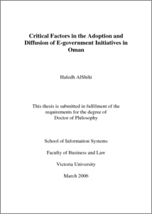 e-government adoption thesis E-government continuance from an expectation public services to citizens through the adoption in this thesis i hold that e-government benefits.